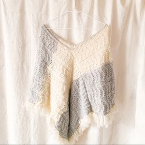Handmade Knit Poncho Fringe Boho Gray/White